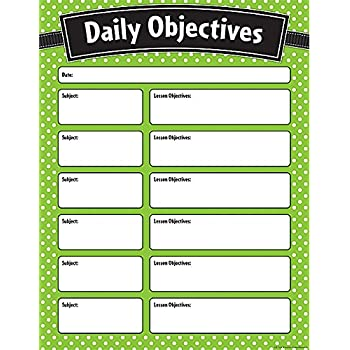 Teacher Created Resources Lime Polka Dots Daily Objectives Chart (7555)