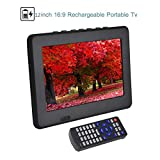12'' 1080P HD HDMI Video Player Portable Digital Television ATSC Portable TV for Home/Car/Outdoor.(Black)