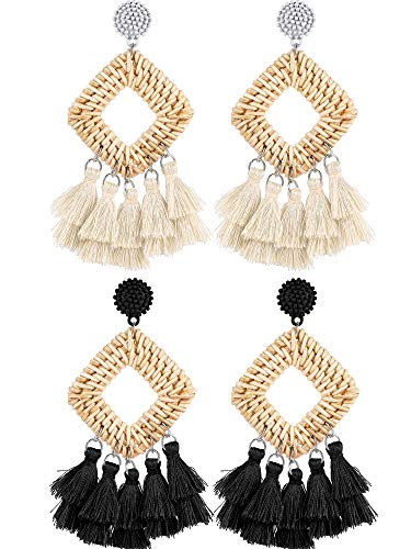- 2 Pairs Rattan Tassel Earrings Bohemian Statement Woven Dangle Fringe Earrings Ethnic Tassel Drop Earrings Vintage Jewelry for Women Girls (Black and White)
