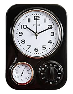 NIA Metal Retro Kitchen Clock with Mechanical Timer and Temperature Gauge (Black)