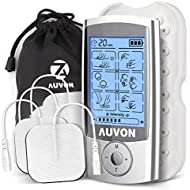 """AUVON Rechargeable TENS Unit Muscle Stimulator, 2nd Gen 16 Modes TENS Machine with Upgraded Self-Adhesive Reusable TENS Electrodes Pads (2""""x2"""") for Pain Relief"""