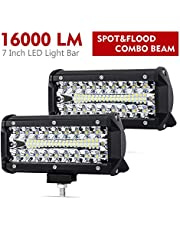 7Inch Led Pods Spot Flood Combo Beam Liteway 16000 LM Triple Row Light Bar Off Road Driving Led Work Lights for UTV ATV Truck Boat Waterproof 2 Pack