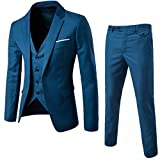 Product review for MAGE MALE Men's 3 Pieces Suit Elegant Solid One Button Slim Fit Single Breasted Party Blazer Vest Pants Set