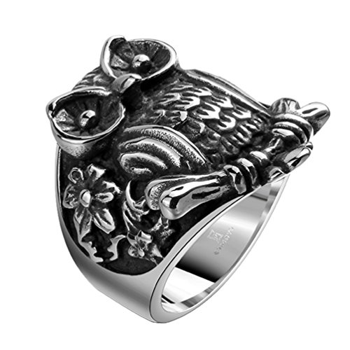 stainless steel owl ring - 6