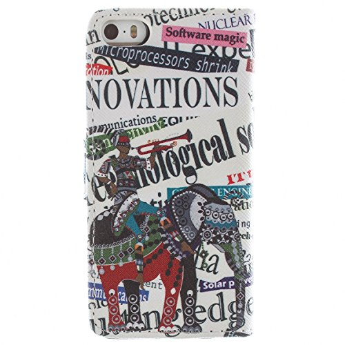 Più colorate Ancerson in pelle PU Flip Custodia per cellulare per Apple iPhone 5/5S/5G in pittura ad olio Stil Colorful Painting Custodia Flip Case Custodia in similpelle custodia per cellulare con fu Elefant Ritter