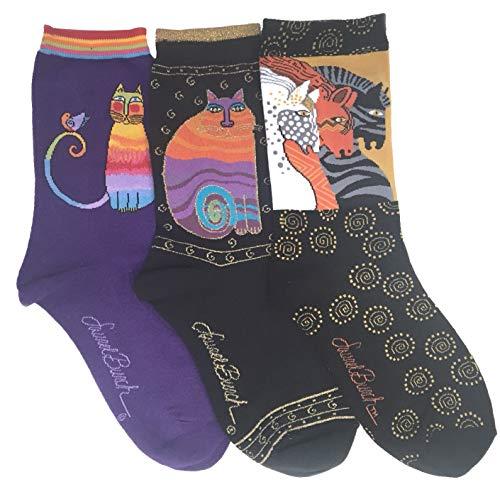 Laurel Burch Women's Crew Socks, 3 Pair (Cats, Horses) (Burch Laurel Horse Moroccan Mares)