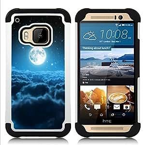 """Pulsar ( Luna Nubes Blue Stars Espacio Universo"""" ) HTC One M9 /M9s / One Hima híbrida Heavy Duty Impact pesado deber de protección a los choques caso Carcasa de parachoques"""