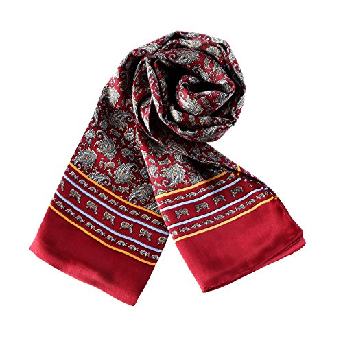 (Charmeuse Satin Silk Scarf for Men (Red with Paisley Pattern))