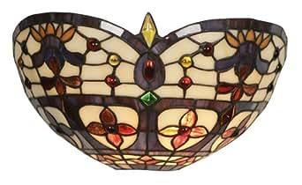 Oaks Lighting OT 1051 WB Tiffany - Lámpara de pared  (cristal, bombilla B22 de 60 W, 16 x 30cm)