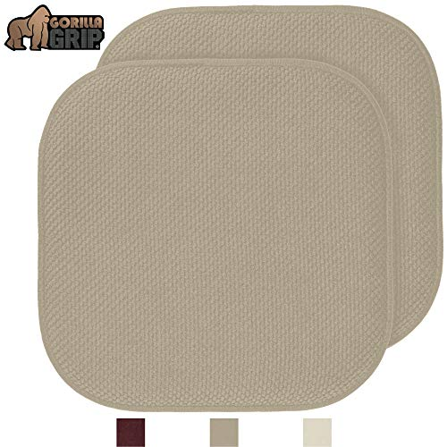 Gorilla Grip Original Premium Memory Foam Chair Cushions, 2 Pack, 16x16 Inch, Thick Comfortable Seat Cushion Pad, Large Size, Slip Resistant, Durable Soft Mat Pads for Office, Kitchen Chairs, Beige