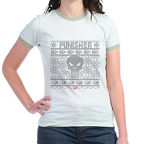CafePress Punisher Ugly Christmas Jr. Ringer T Shirt Jr. Ringer T-Shirt, Slim Fit 100% Cotton Ringed Shirt Mint/Avocado