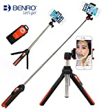 BENRO Handheld Tripod 3 in 1 Self-portrait Monopod Extendable Phone Selfie Stick with Built-in Bluetooth Remote Shutter - Orange