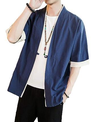 Shaoyao Hombres Cárdigan Chaqueta De Kimono Japonesa Chaqueta De Informal Chino