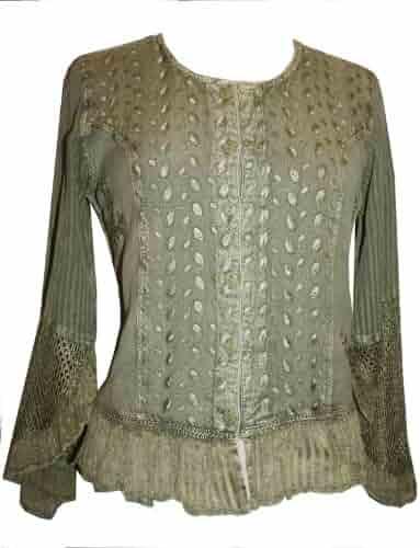 b41c3d8c68 103 B Gypsy Medieval Renaissance Vintage Bohemian Top Blouse