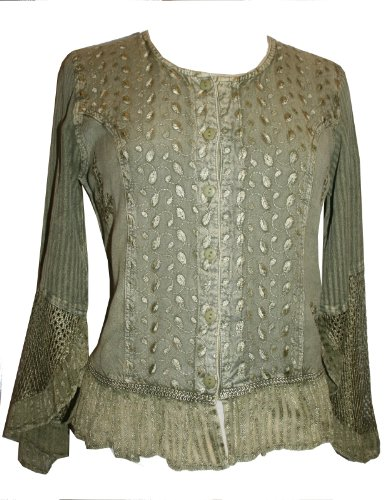 103 B Gypsy Medieval Renaissance Vintage Embroidered Top Blouse (M, Olive - Top Gypsy Embroidered