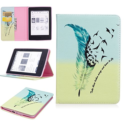 Kindle Paperwhite Case, Jeccy Slim Thin Folio Flip Printing Design PU Leather Protective Cover with Kickstand Card Holder for Amazon Kindle Paperwhite (Fits All versions: 2012 2013 2014 and 2015 - Crystal Glass Versus