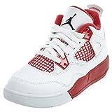 aj 4 shoes - AIR JORDAN [308499-106] AJ 4 Retro BP (PS) Pre-School Shoes White/Black Gym Red