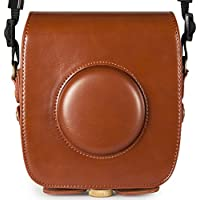 Woodmin Retro Oil Leather SQUARE Camera Case for Fujifilm Instax Square SQ10 Hybrid Instant with Adjustable Shoulder Strap (Brown)