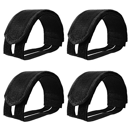Outus 2 Pairs Bicycle Feet Strap Pedal Straps for Fixed Gear Bike, Black Fixie Straps