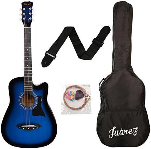 Juarez JRZ38C Acoustic Guitar, 38 Inch Cutaway with Bag (TBS Transparent Blue Sunburst)