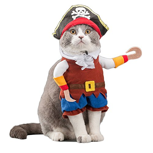 Fun Cat Costumes (WeeH Dog Costume Clothes Halloween Cat Costumes Small Animal Funny Pets Clothing for Doggy Kitty Rabbits Piggy Christmas Gift, Pirate, L)