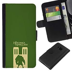 KLONGSHOP // Tirón de la caja Cartera de cuero con ranuras para tarjetas - el jorobado de Notre Dame - HTC One M7 //