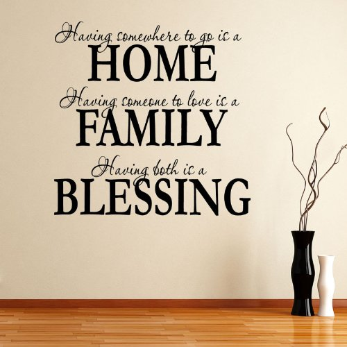 Having Somewhee to Go Is a Home Family Blessing Wall Decal Quote Sticker Living Room Decor Wide 60cm High 60cm Black Color