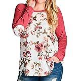 Tenworld Womens Casual Tops Fashion Flower Print Plus Size Baseball T-Shirt
