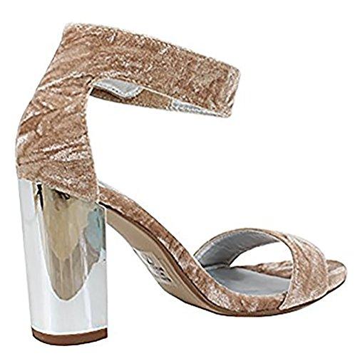 Delikate Kvinners Åpen Tå Høy Hæl Forstropp Kjole Sandal Hæl-sandaler Beige * E