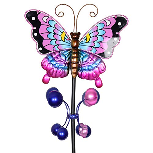 (Exhart Purple Butterfly Wind Spinner Garden Stake - Hand-Painted Butterfly Spinners in Purple, Blue, Black, Brown and Yellow - Kinetic Art Vertical Spinners in Metal Butterfly Design, 8 x 38 Inches)