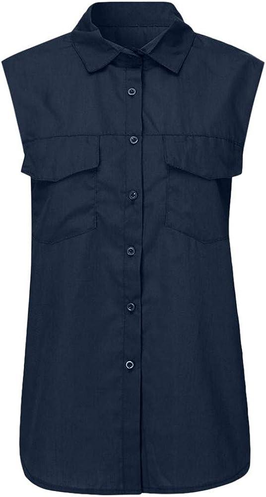 FELZ Camiseta de Mujer Casual Camisa sin Mangas de Color sólido Bajar el Cuello Bolsillos botón Blusa Verano Camisa Slim fit Cuello en V Sexy Blusa de Trabajo Blusas Playa básica T-Shirt