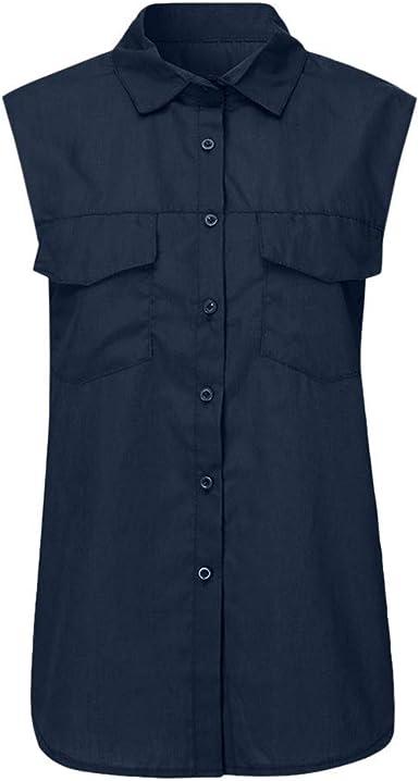FELZ Camiseta de Mujer Casual Camisa sin Mangas de Color sólido Bajar el Cuello Bolsillos botón