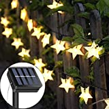 Solar String Lights Garden, 23ft 50 LED Star Fairy Lights Outdoor Solar Powered Led Star String Light Waterproof 8 Modes Decorative Light for Garden Patio Yard Home Wedding Party, Warm White