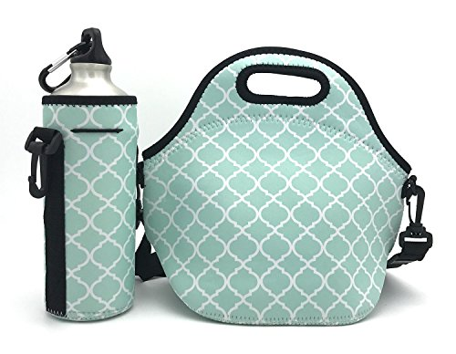 Wanty New Fashion Neoprene Insulated Waterproof Lunch Tote Bag Lunch Box Travel School Lunch Bags Grocery Bags Picnic Bags with Zipper and Handle Strap and Water Bottle Holder (Lantern Green)