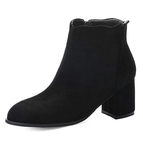 Ork Tree Damen Stiefeletten Blockabsatz Chelsea Boots Wildleder 6.5cm Damen Ankle Boots Winterstiefel Schuhe