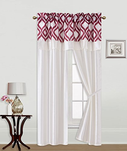 GorgeousHome (R5) 5pc All Faux Silk Window Curtain Panel with Attached Printed Valance Rod Pocket with 2 Tie Backs 56