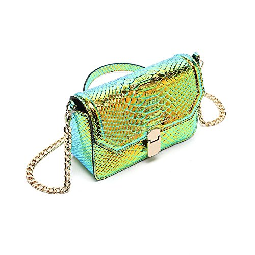 Leather Peiji Snake with Shoulder Skin Bag Hologram Wallet Green Crossbody Cellphone Bag Girls Chain UqfSx4qwA