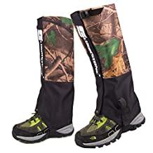 LuckyStone Outdoor Men's Waterproof Breathable Unisex Double Sealed Crocodile Gaiter Hiking Mountain Leg Protection Bug out camouflage Gaiters