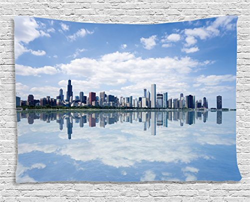 (Ambesonne Apartment Decor Collection, View Of Chicago Waterfront Modern City Reflection Shore Scenery Cloudscape, Bedroom Living Room Dorm Wall Hanging Tapestry, 80W X 60L Inch)