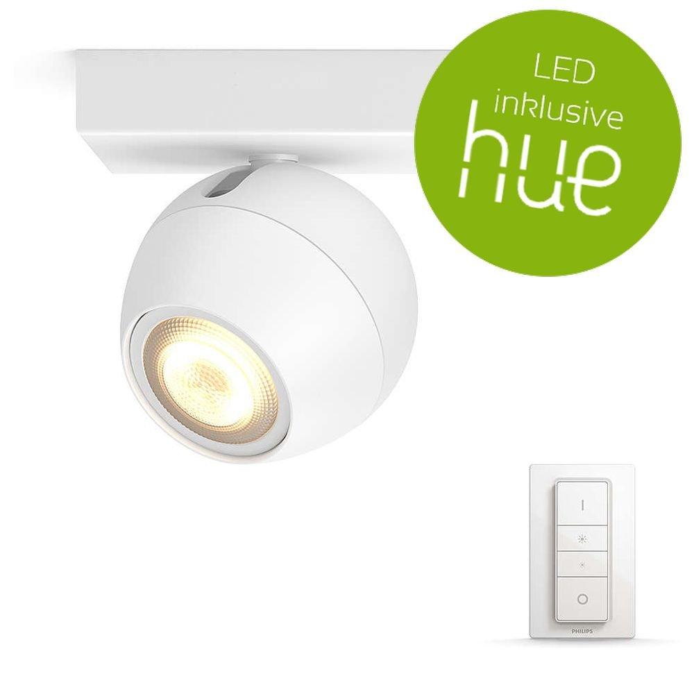 Philips Hue Weiß Ambiance Buckram Deckenleuchte 1-er Spot, inkl. Dimmschalter, weiß   LED-Wohnzimmerlampe mit Fernbedienung   Kompatibel mit AMAZON ECHO ALEXA und APPLE HOMEKIT   App-Steuerung