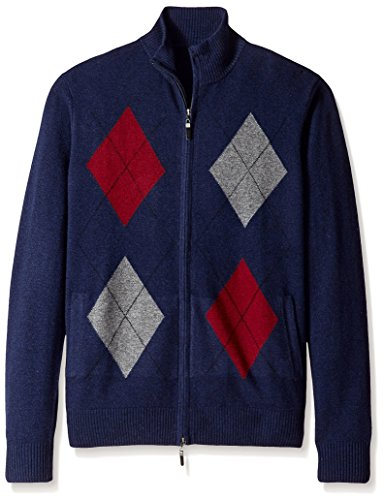 Cashmere Argyle Sweater (Thirty Five Kent Men's Diamond Pattern Cashmere Full Zip Sweater, Navy,)