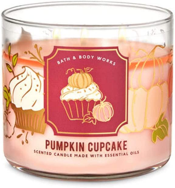 White Barn Candle Company Bath and Body Works 3-Wick Scented Candle w/Essential Oils - 14.5 oz - Pumpkin Cupcake (Whipped Buttercream, Madagascar Vanilla, Pumpkin Spice, Freshly Baked Cupcake)