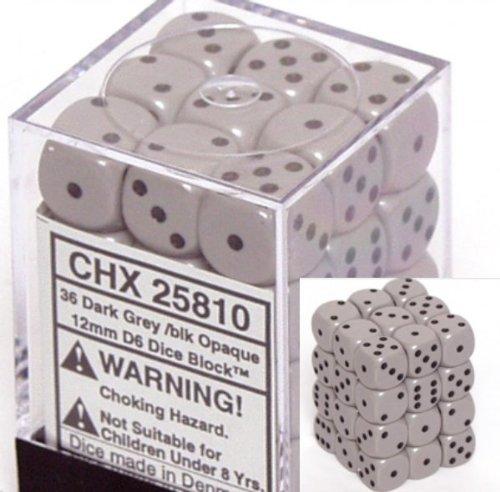 dice d6 sets opaque grey