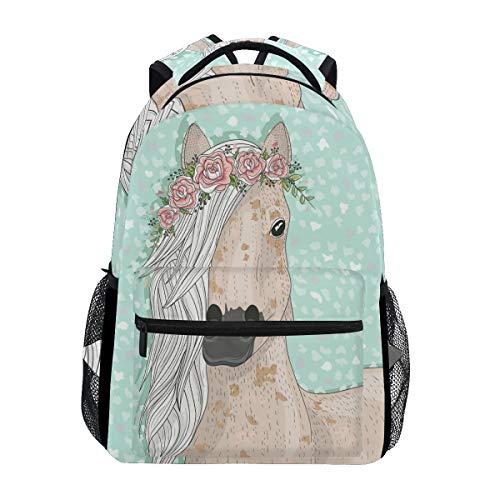School Backpacks Flower Horse Student Backpack Big For Girls Kids Elementary School Shoulder Bag Bookbag