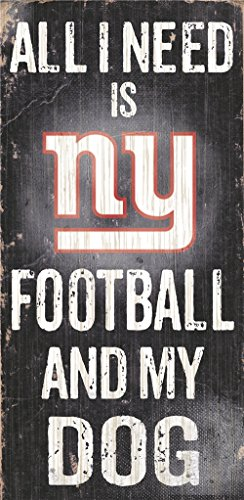 (New York Giants Wood Sign - Football And Dog 6''x12'')