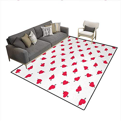 Carpet,Cartoon Hearts with Arrows Love Passion and Romance Pattern,Indoor Outdoor Rug,Dark Coral Brown WhiteSize:6'x7' (Arrow Carpet Andover)