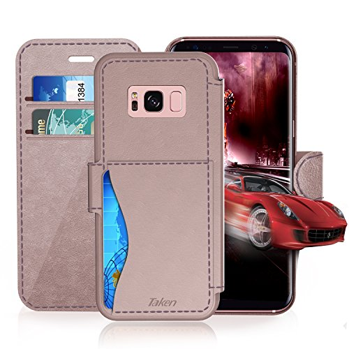 Samsung Galaxy S 8 Leather Wallet Case with Credit Cards Slot and Metal Magnetic Clip, TAKEN Galaxy S8 Plastic Flip Case / Cover, Vintage and Fashion, Durable and Shockproof Holster (Rose Gold) 2017