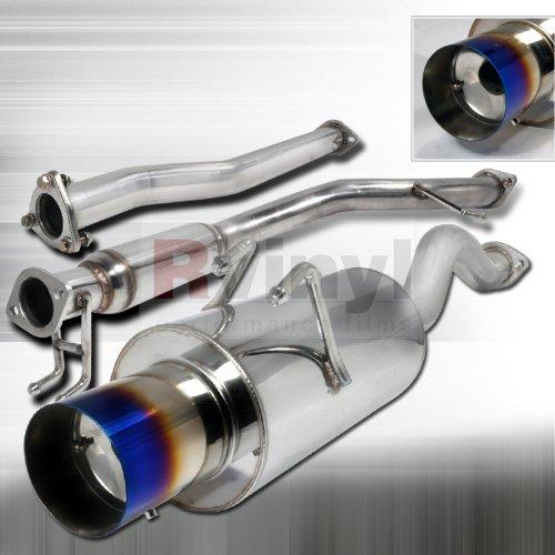 Honda Coupe Exhaust System (Spec-D Tuning MFCAT2-CV062SIT-SD Honda Civic 2Dr Exhaust Catback System Titanium Burnt Tip)