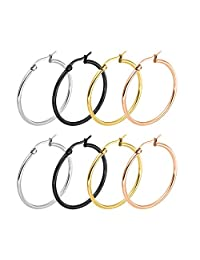 Epinki 8PCS(4 Pair) 10MM-70MM Stainless Steel Hoop Earrings Sets