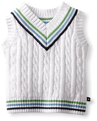 Kitestrings Baby-Boys Infant Cable Knit V-Neck Sweater Vest, White, 6-9 Months